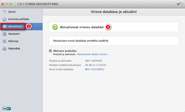 Aktualizace virové databáze ESET Cyber Cecurity Pro