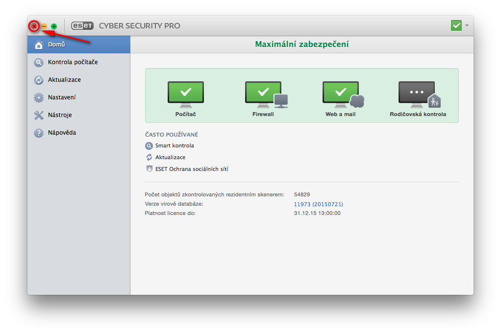 Ukončení aplikace ESET Cyber Security Pro