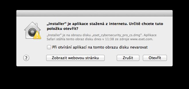 ESET Cyber Security Pro nelze nainstalovat, protože nebyl stažen z AppStore