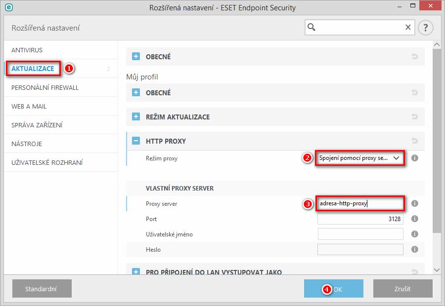 Vytvoření mirroru v produktu ESET Endpoint Security