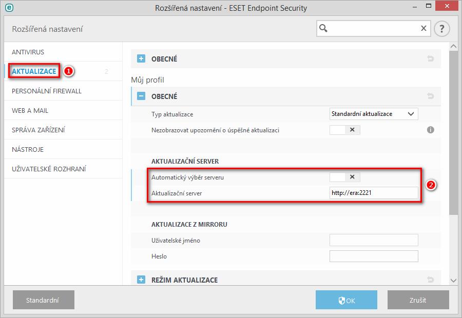 Nasměrování produktu ESET Endpoint Security na lokální mirror