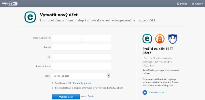 Vytvoření nového my.eset.com účtu