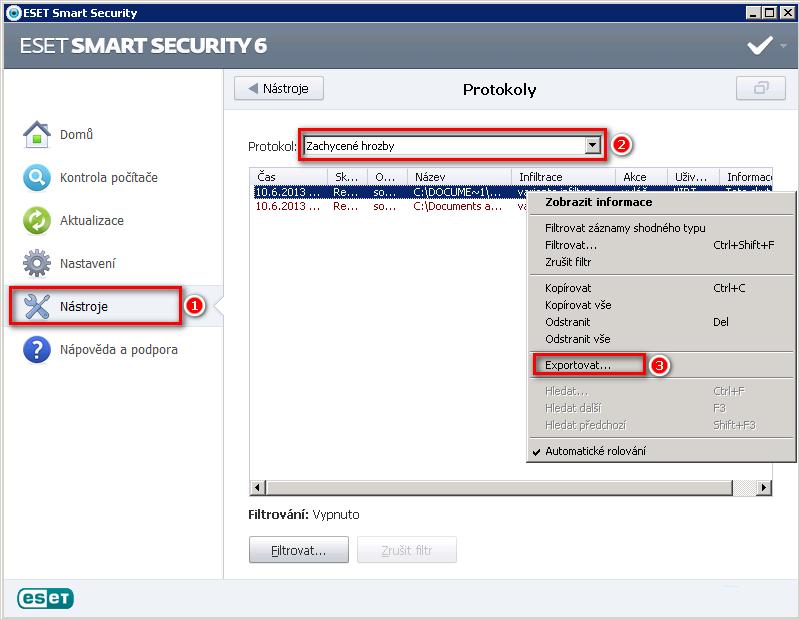 Zobrazení zachycených hrozeb aplikací ESET