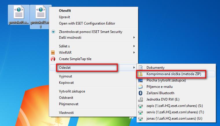 Vytvoření .zip archivu ve Windows