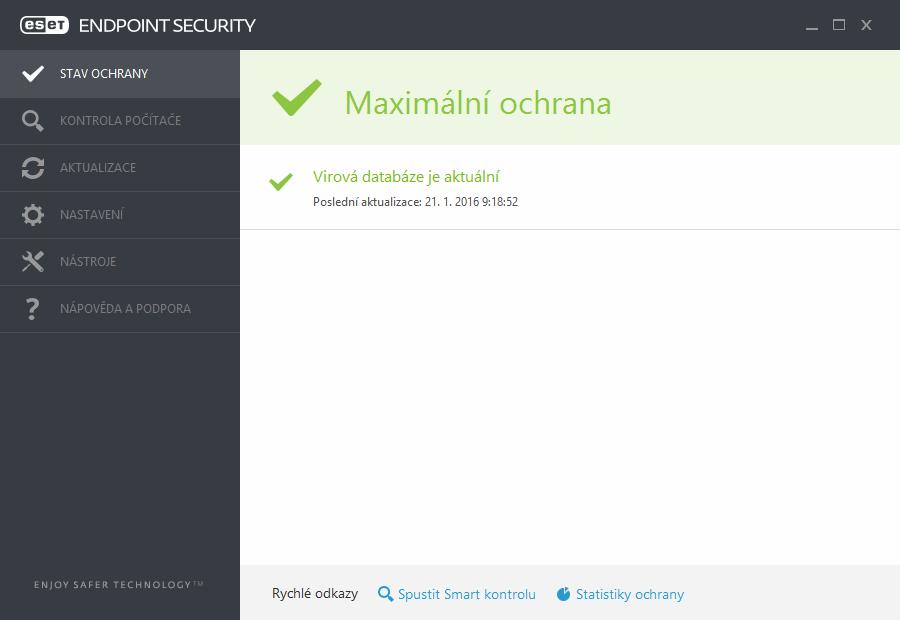 Hlavní okno programu ESET Endpoint Security