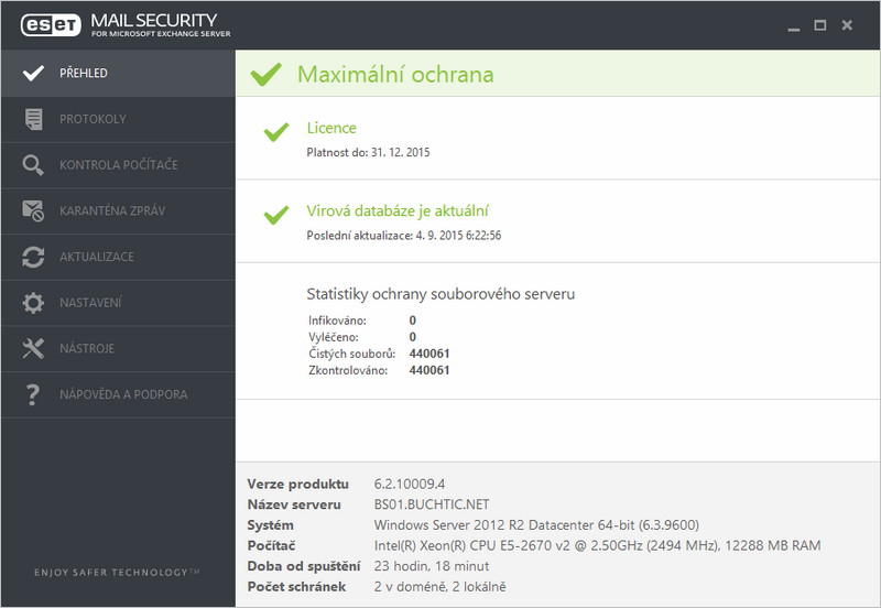 Nové uživatelské rozhraní ESET Mail Security 6 pro Microsoft Exchange Server