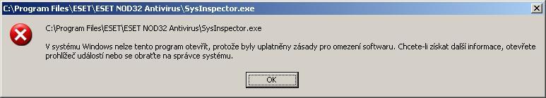 Chyba při spuštění aplikace