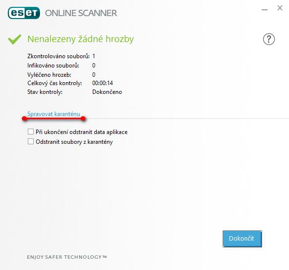 ESET Online Scanner - karanténa