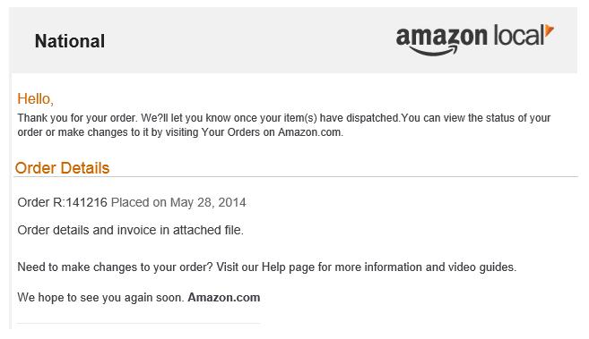 Vzor podvodného e-mailu od společnosti Amazon