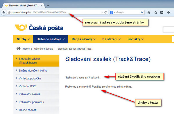 Podvržená stránka České pošty