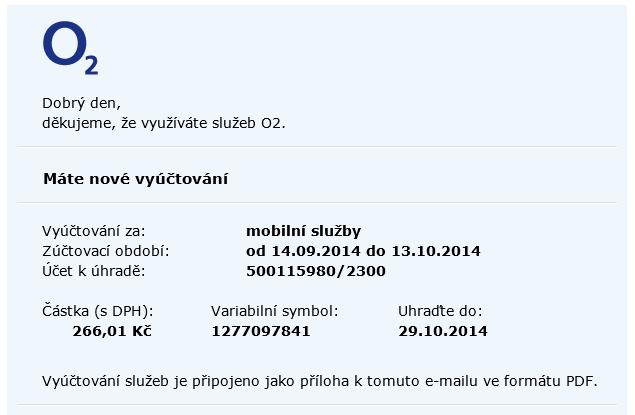 Vzor podvodného e-mailu od společnosti O2