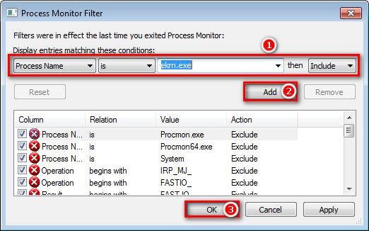 Filtr aplikace Process Monitor