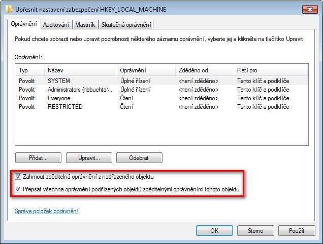 Upřesnit nastavení zabezpečení HKEY_LOCAL_MACHINE