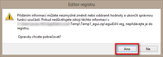 Import nastavení do registru Windows