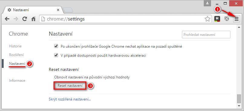 Reset nastavení prohlížeče Google Chrome