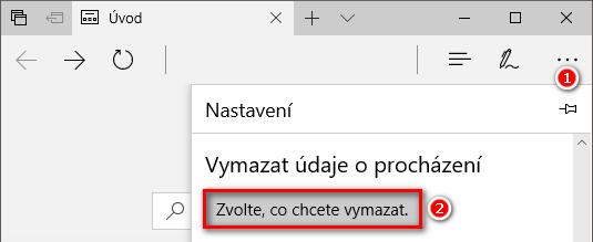 Reset nastavení prohlížeče Microsoft Edge