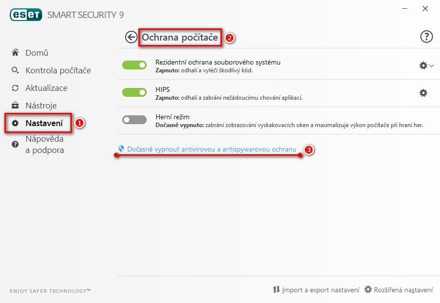 Pozastavení rezidentní ochrany souborového systému