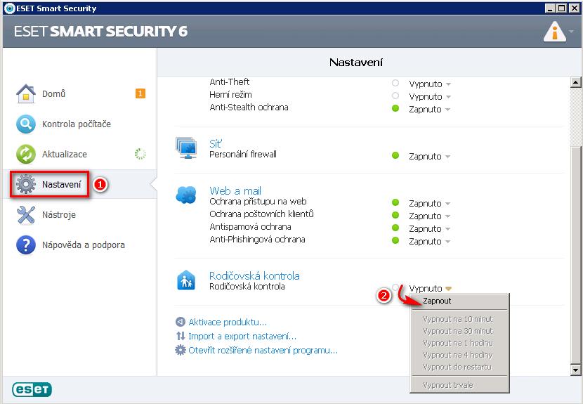 Zapnutí rodičovské kontroly v ESET Smart Security