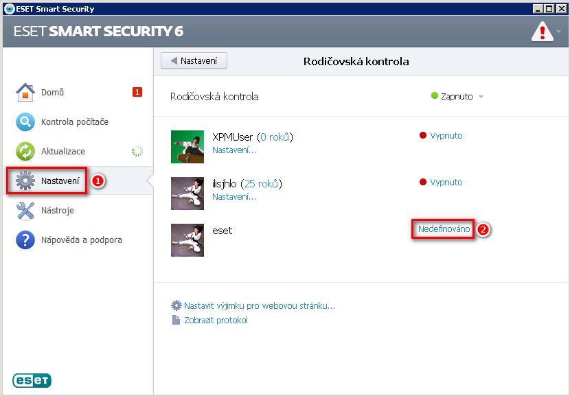 Konfigurace rodičovské kontroly v ESET Smart Security