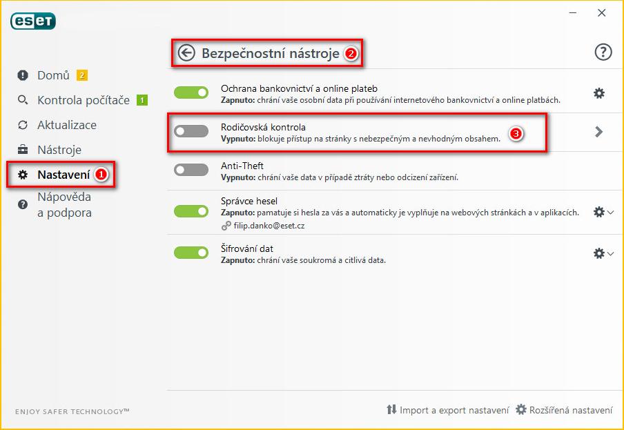 Nastavení bezpečnostních nástrojů ESET Internet Security