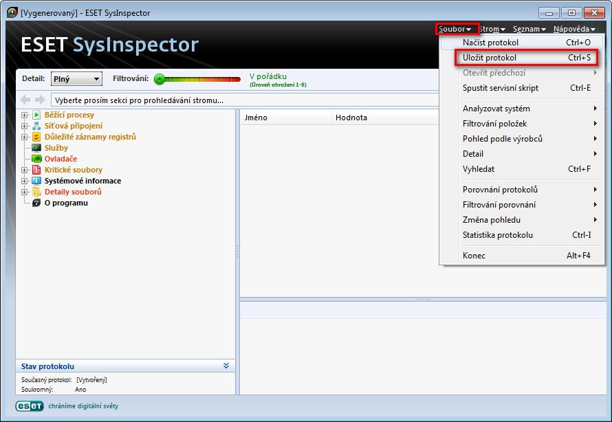 Exportování souboru s protokolem ESET SysInspector