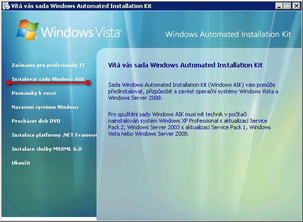 Instalace Windows AIK