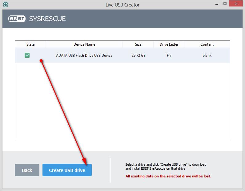 Vytvoření SysRescue pomocí ESET Live USB Creator