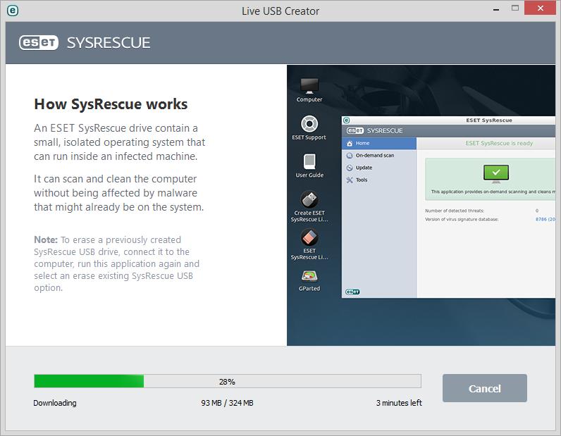 Vytváření SysRescue pomocí ESET Live USB Creator