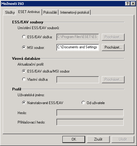 Podrobná konfigurace ESET SysRescue
