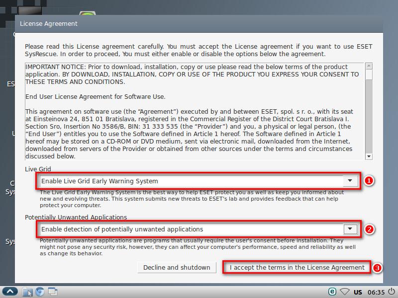 Nastavení možností detekce ESET SysRescue