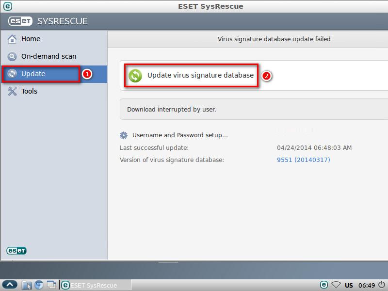 Aktualizace virové databáze ESET SysRescue
