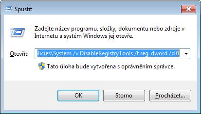 Zadáním příkazu REG odblokujete Editor registru