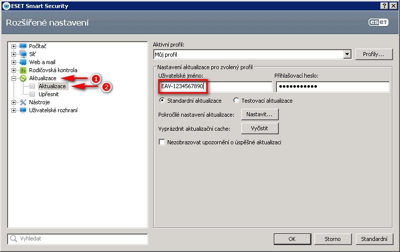 Uživatelské jméno v nastavení programu ESET