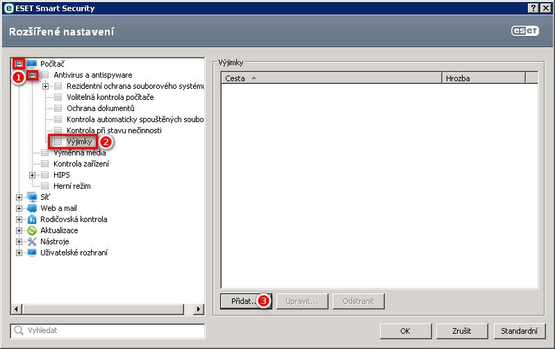 Rozšířené nastavení ESET Smart Security