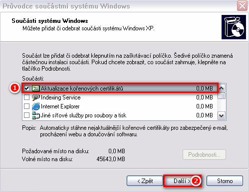 Aktualizace kořených certifikačních autorit ve Windows XP