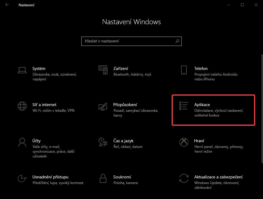 Nastavení Windows 10