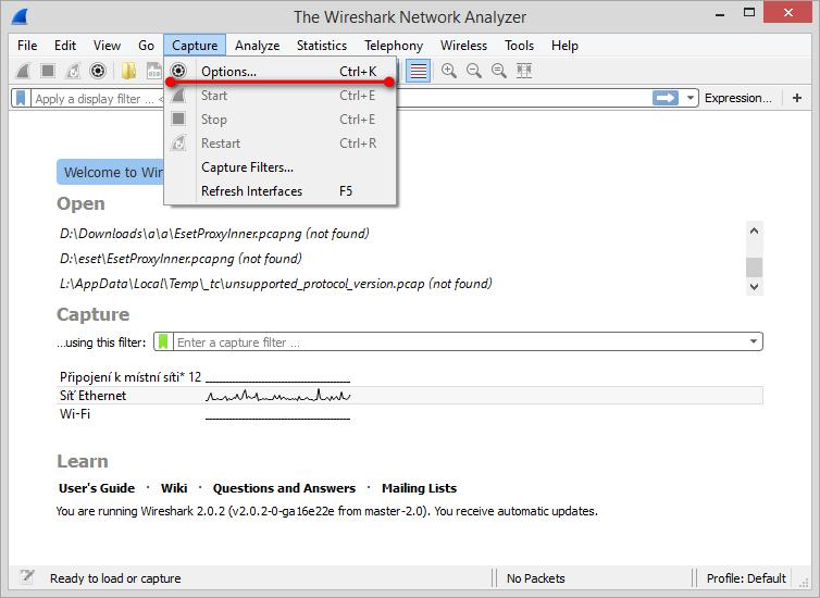 Hlavní okno aplikace Wireshark