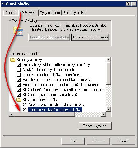 Zobrazit skryté soubory ve Windows XP