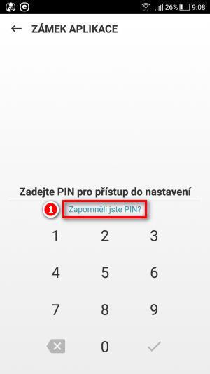 Ťukněte na Zapomněli jste PIN?
