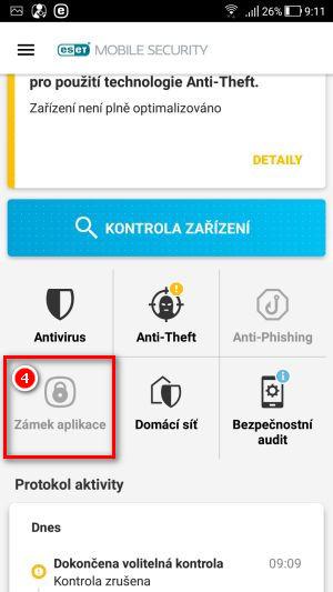 Ťukněte na Zámek aplikace