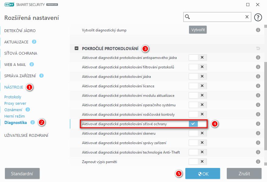Aktivace diagnostického protokolování firewallu