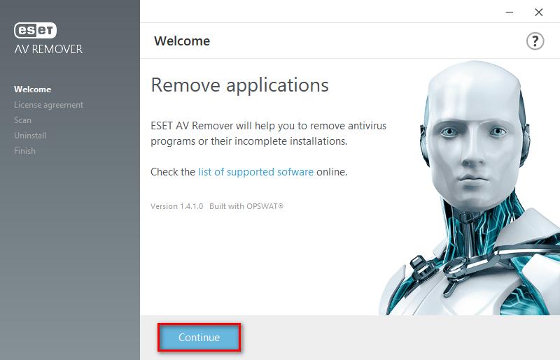 ESET AV Remover - uvítací obrazovka