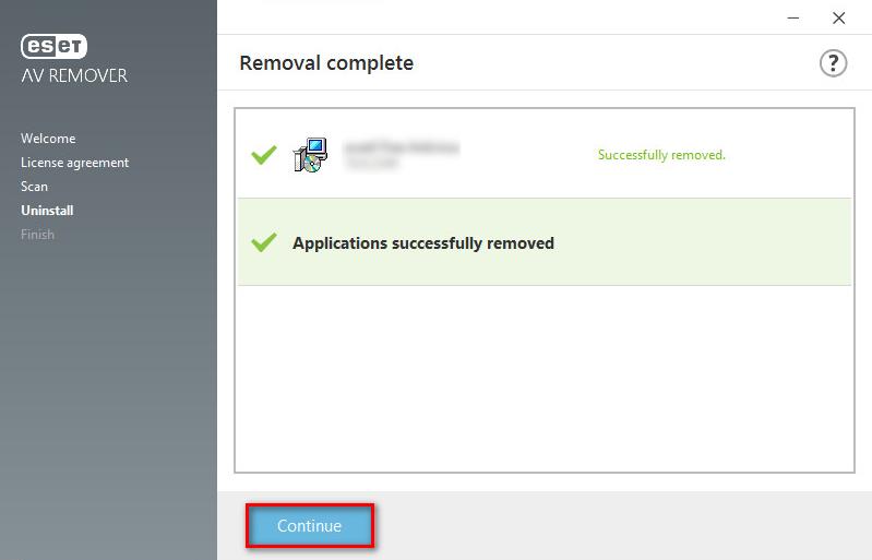 Oznámení o odebrání programu pomocí ESET AV Remorer