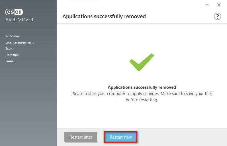 Závěrečné potvrzení a pokyn k restartu v ESET AV Remorer