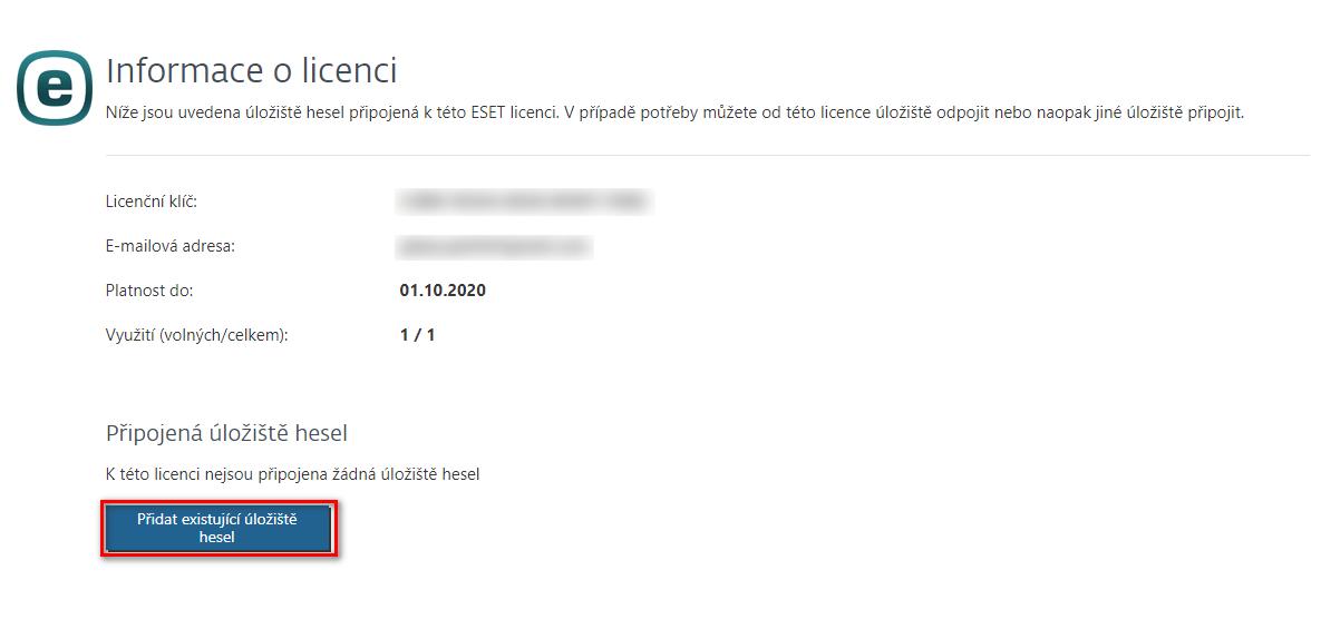 Přidání úložiště hesel