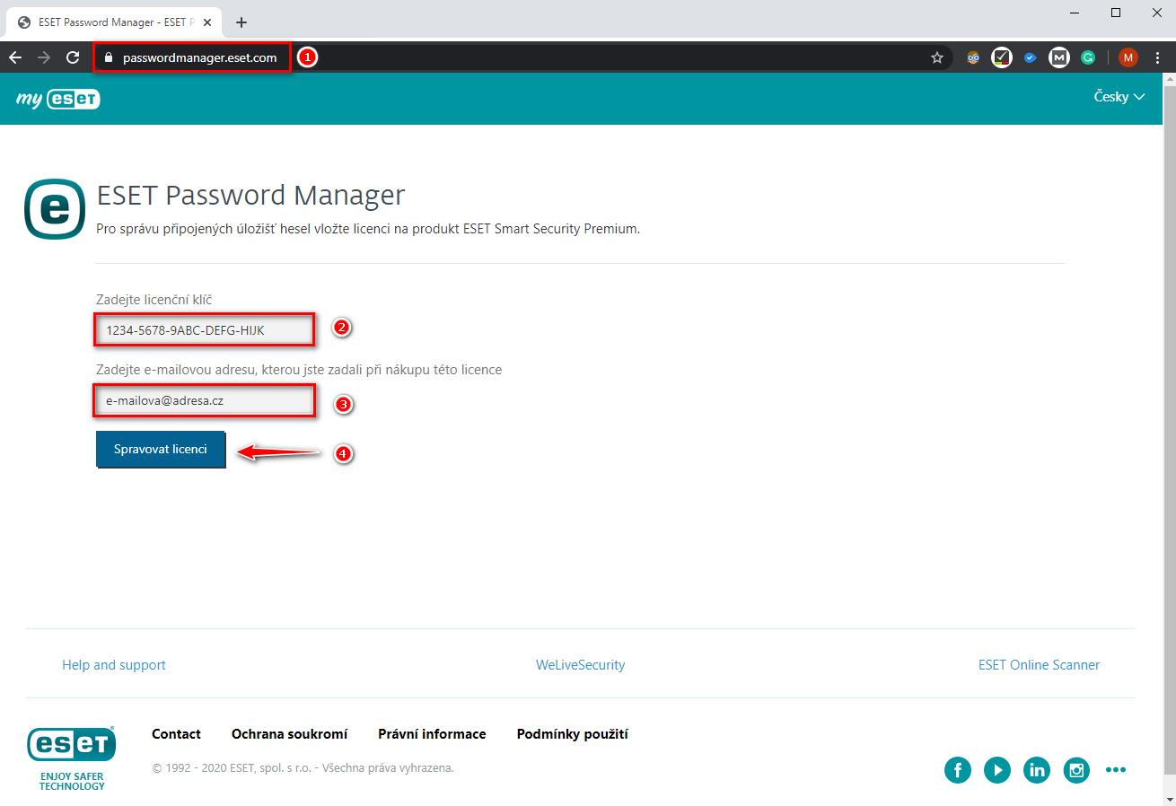 Přihlášení do ESET Password Manager