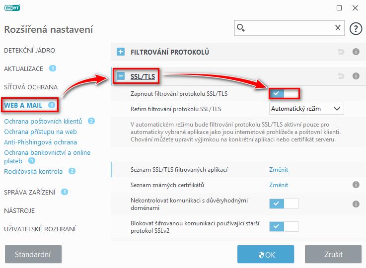 Kontrola zapnutí SSL/TLS