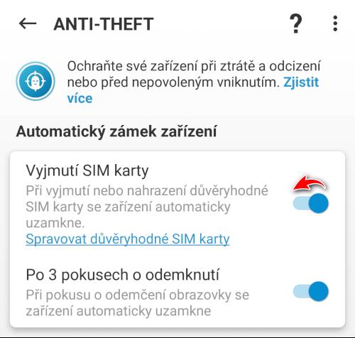 Jak deaktivovat ochranu SIM karty v ESET Mobile Security