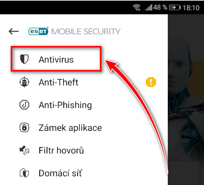Otevření položky Antivirus v menu ESET Mobile Security