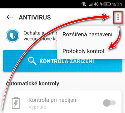 Otevření položky Protokoly kontrol v menu části Antivirus